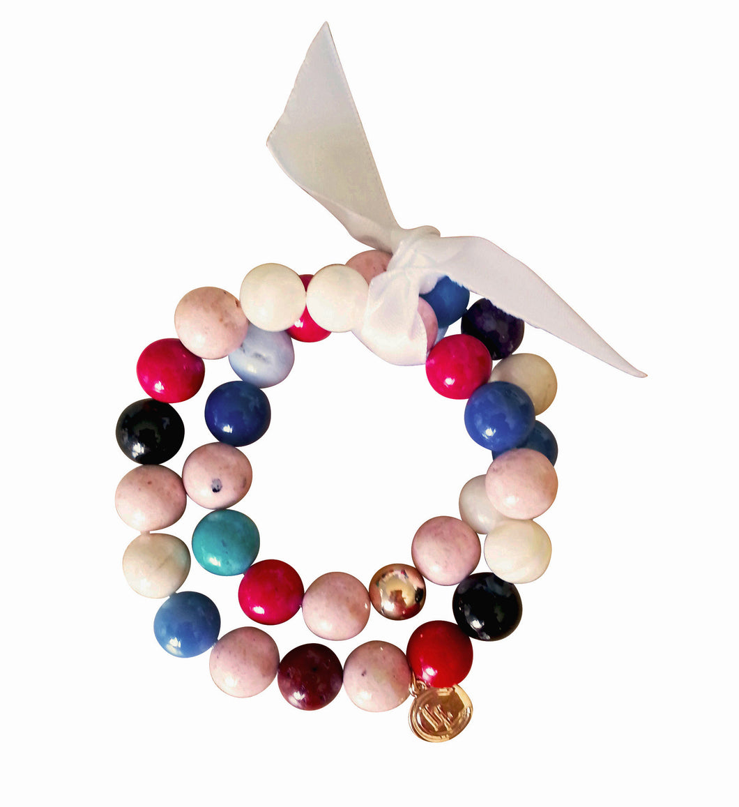 Mixed Gemstone 14K gold bracelet set - LILACLABEL - 1