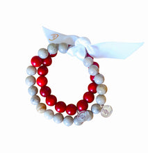Coral and Feldspar Sterling Silver bracelet set - LILACLABEL - 1
