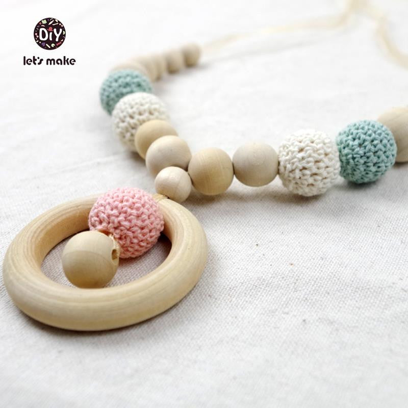 Wood and Crochet Beads Nursing Necklace