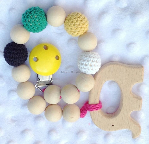 Baby Wood and Crochet Beads Teething Toy on a Clip