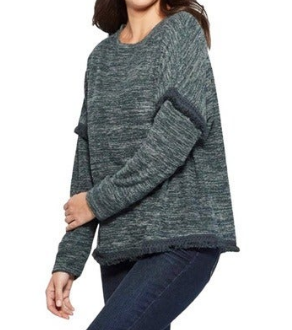 Knox Rose Women's Long Sleeve Fringed Chenille Sweater, Forest Green,