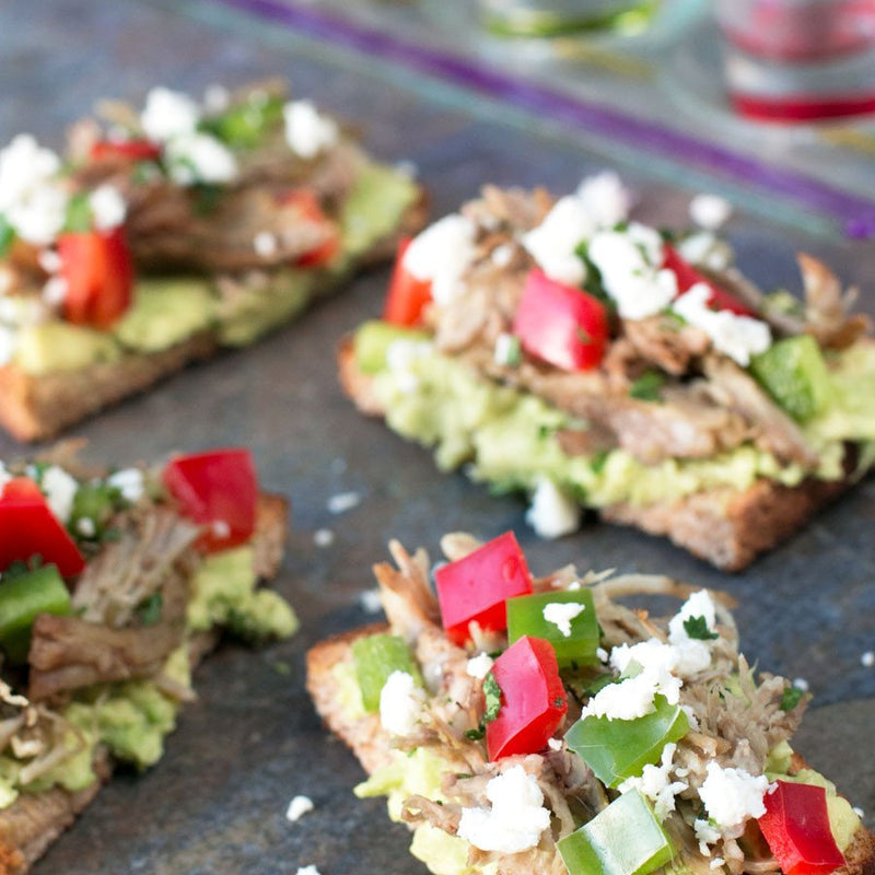 Pulled Pork Veggie Avocado Toasts
