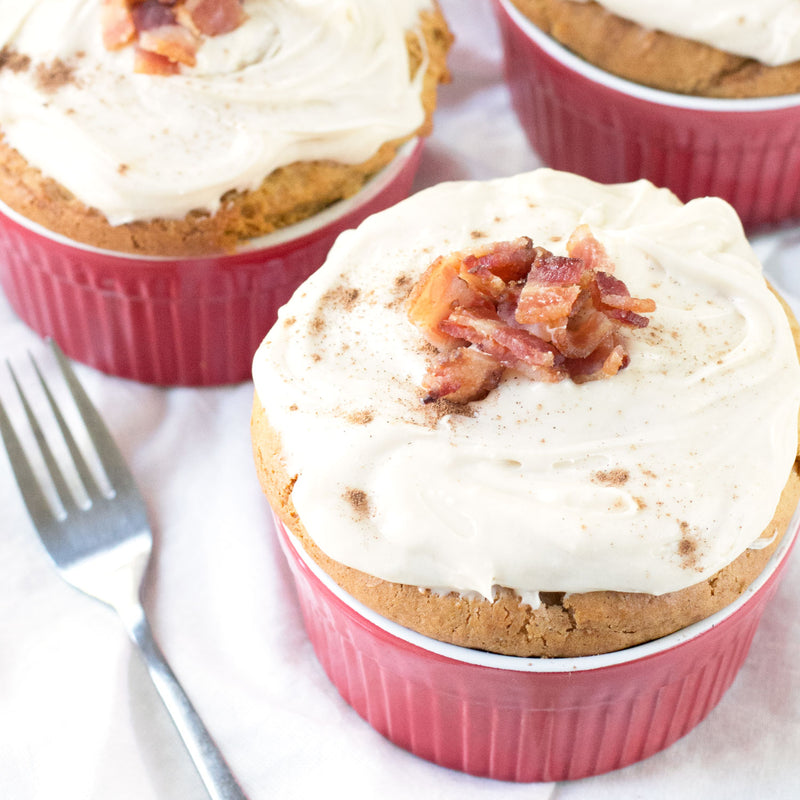 Individual Pumpkin Spice Cakes with Cream Cheese Frosting and Candied Bacon