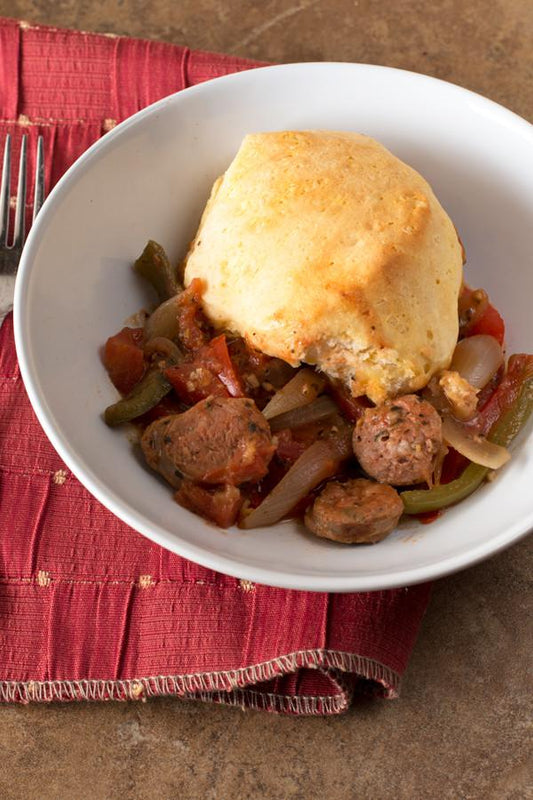One-Skillet Sausage and Peppers with Biscuit