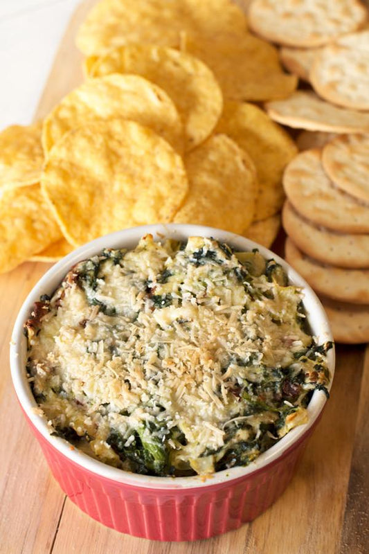 Baked Spinach & Artichoke Dip with Bacon