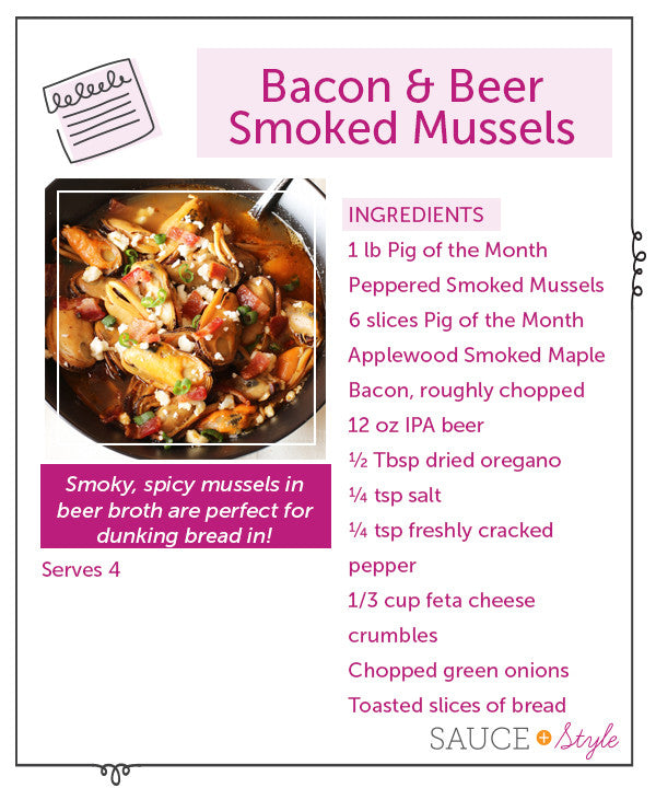 Bacon & Beer Smoked Mussels | sauceandstyle.com