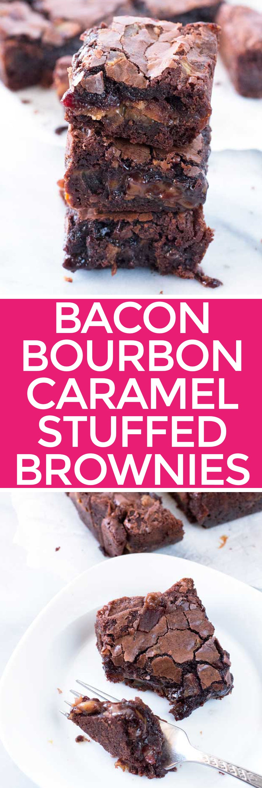Bacon Bourbon Caramel Stuffed Brownies | pigofthemonth.com #chocolate #dessert
