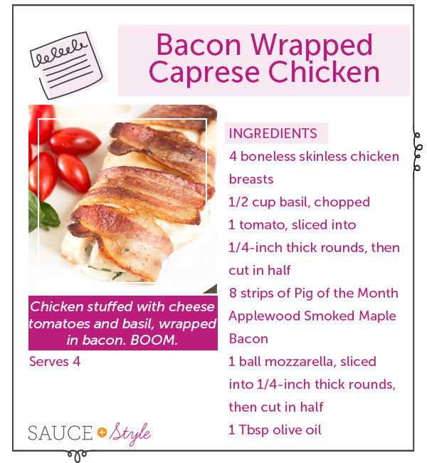 Bacon-Wrapped Caprese Stuffed Chicken | Sauce + Style