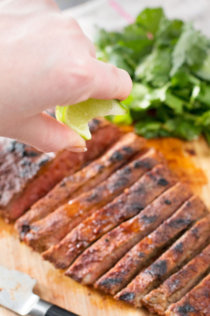 Grilled Chili Rubbed Flank Steak | Sauce + Style