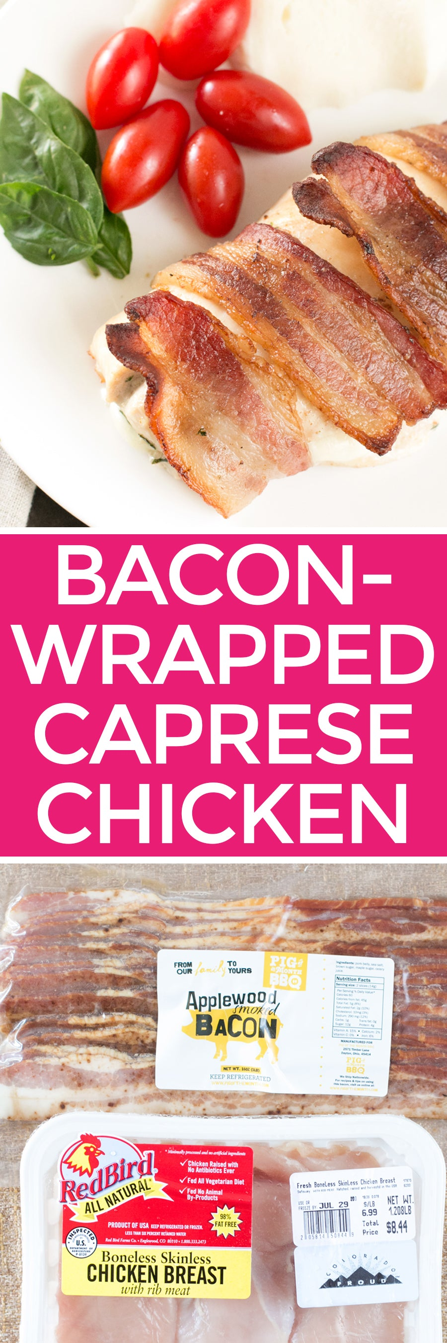 Bacon-Wrapped Caprese Chicken | pigofthemonth.com #bacon #dinner #healthy