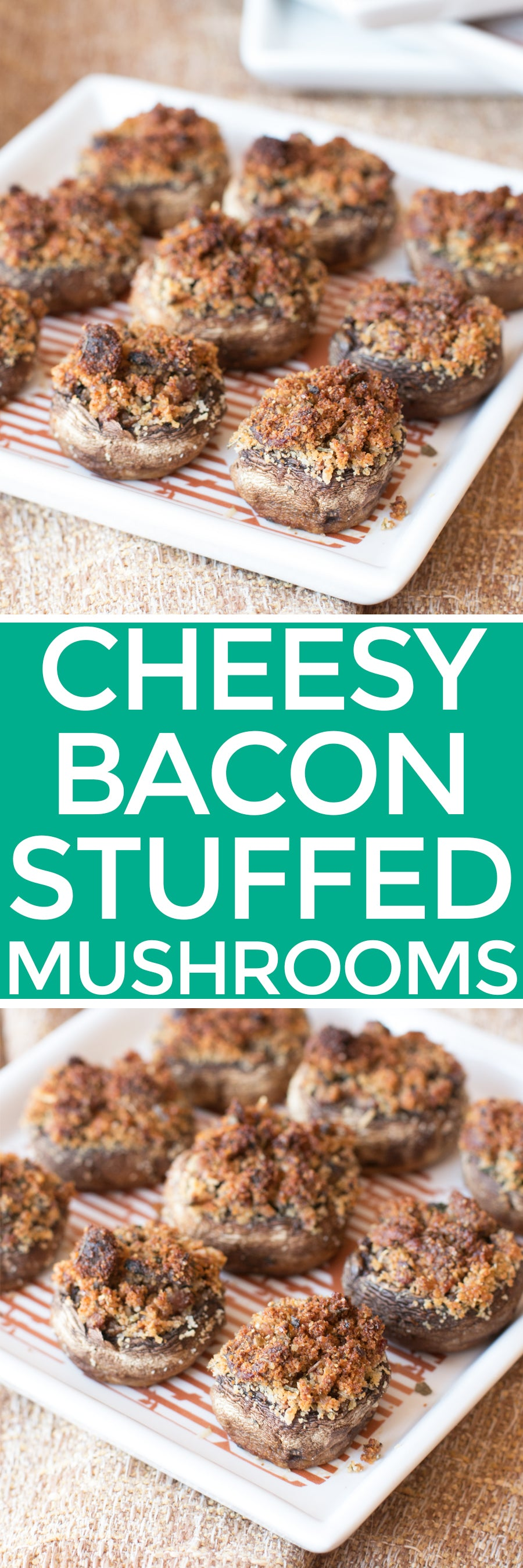 Cheesy Bacon Stuffed Mushrooms | pigofthemonth.com #appetizer #party