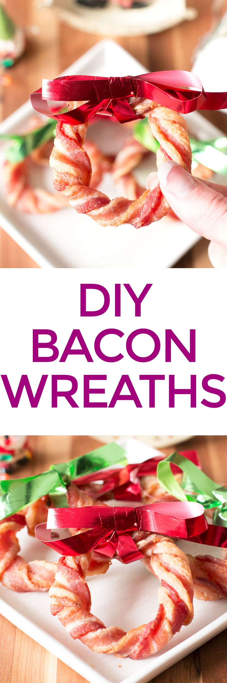 DIY Bacon Wreaths | pigofthemonth.com #christmas #bacon #recipe #DIY