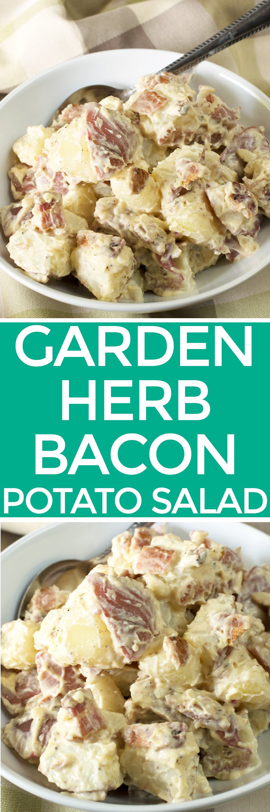 Garden Herb Bacon Potato Salad | pigofthemonth.com