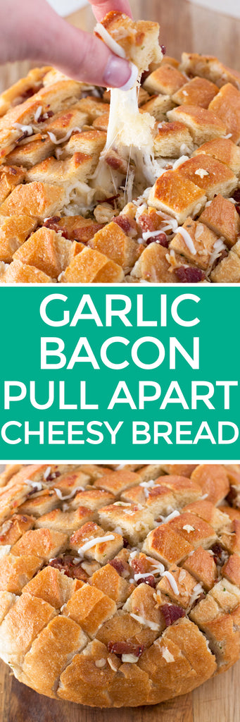 Pull Apart Bacon Garlic Cheese Bread | pigofthemonth.com/blog #appetizer #party #tailgating