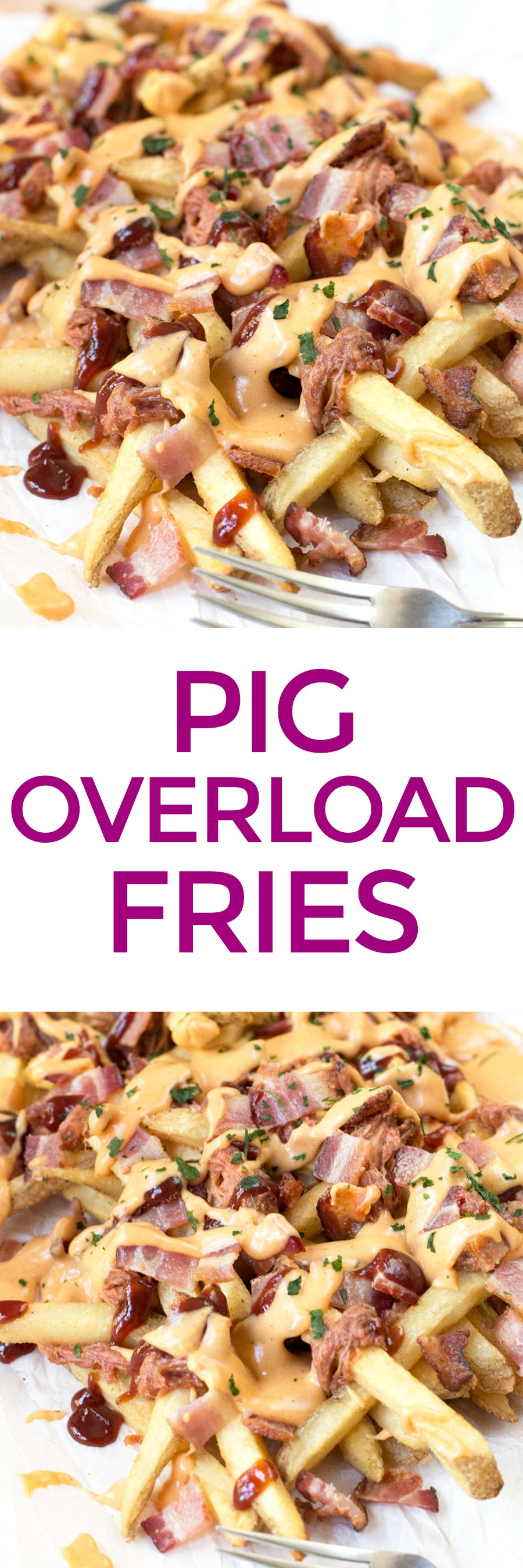 Pig Overload Fries | pigofthemonth.com #tailgating #pork #bacon #recipe