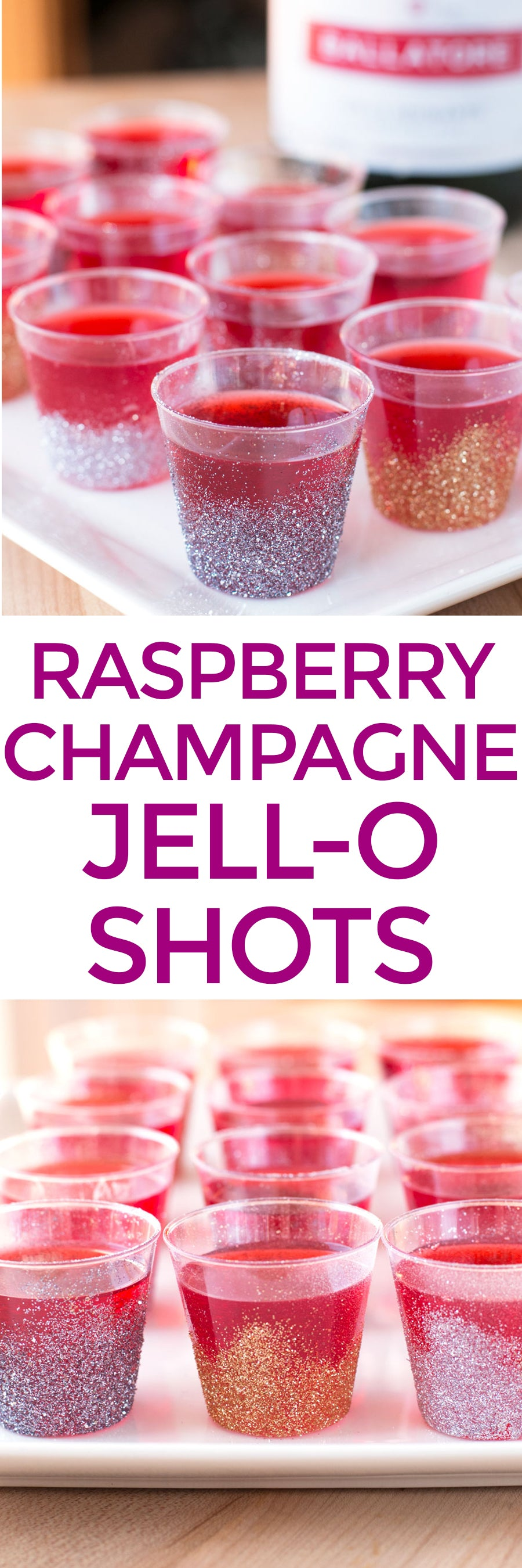 Raspberry Champagne Jell-O Shots | pigofthemonth.com #newyearseve #party #cocktail #recipe