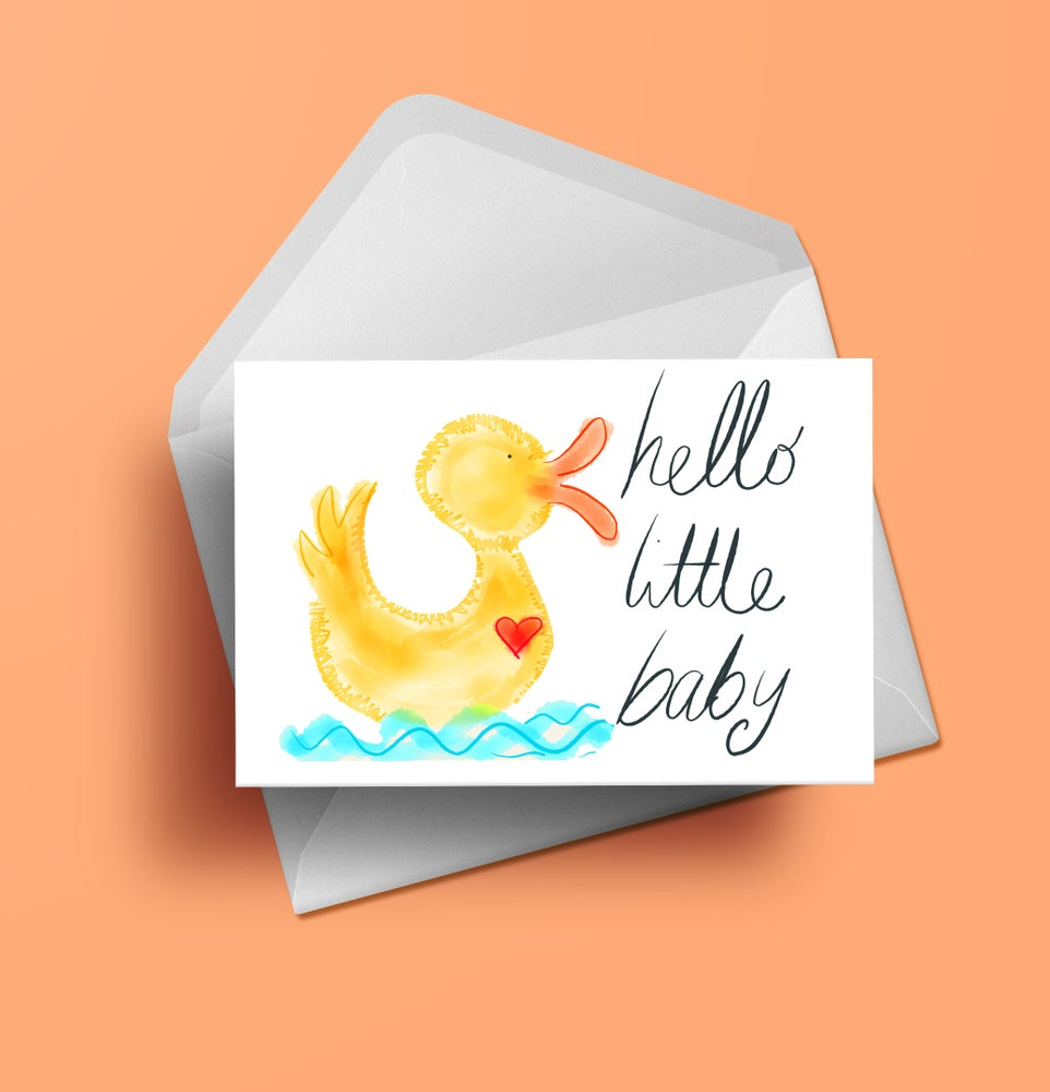 Hello Little Baby Duckling Greeting Card