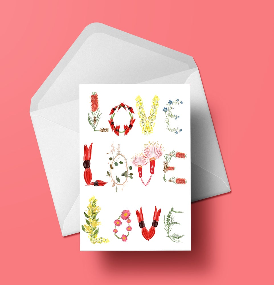 Love Love Love Native Flora Type Greeting Card