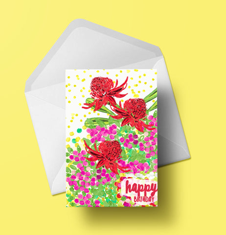 Happy Birthday Waratah Card
