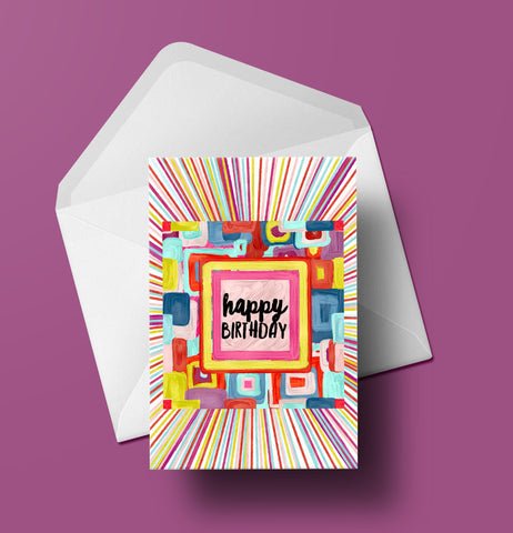 Happy Birthday Psychedelic Squares Card