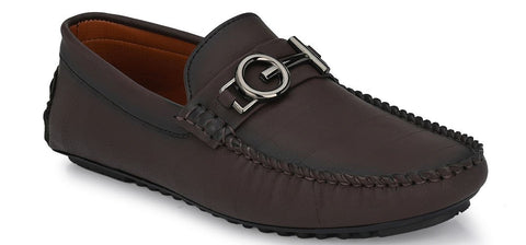 BROWN ROUND TOE LOAFER WITH METAL ACCENT MRP (inclusive of all taxes)