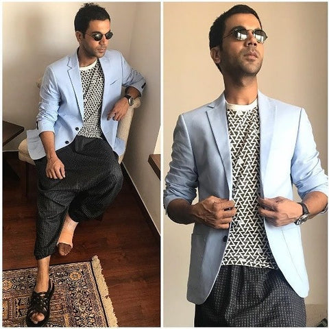 "Bespoke Luxury Shoe Brand on Instagram_ ""Boy In Blue. @rajkumar_rao adds a breath of fresh air with blues and geometry. Promoting his film with Sandals of Alberto Torresi Shop Now"