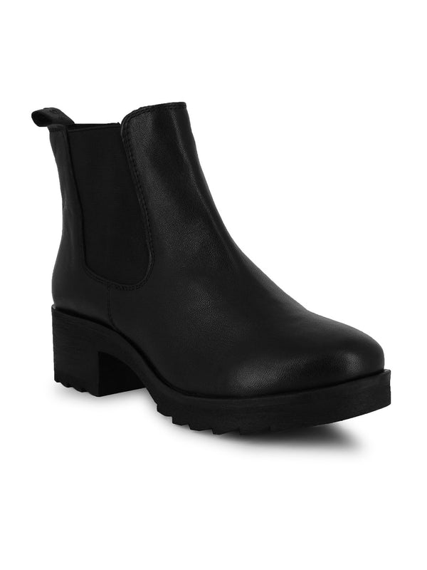 A La Mode Black Heeled Chelsea Boots