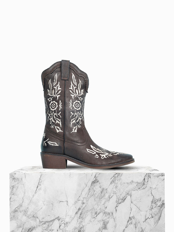 Women's floret adorned dark brown block heel boots