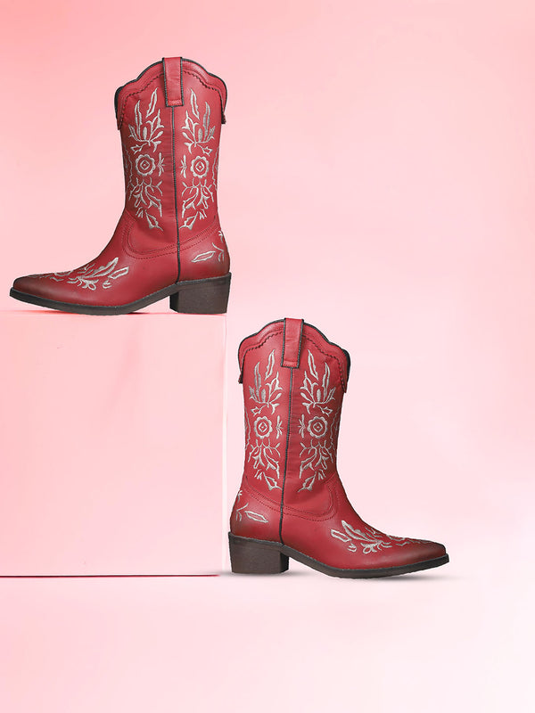 Women's floret adorned red block heel boots