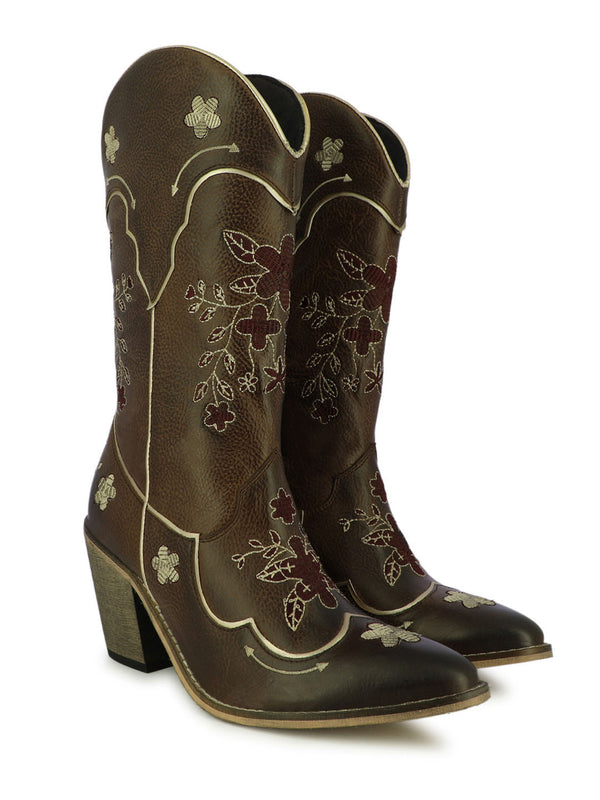Women's floral design carved block heel boots