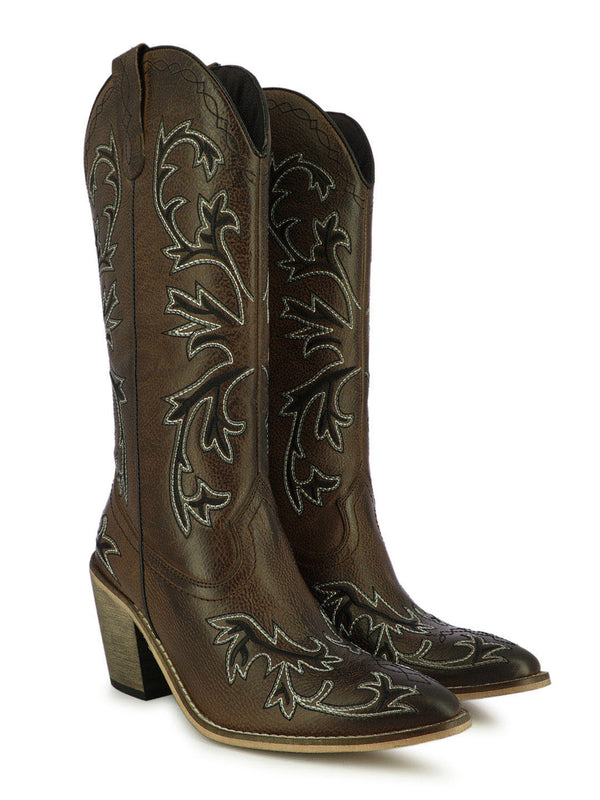 Women's wing spread motif brown block heel boots