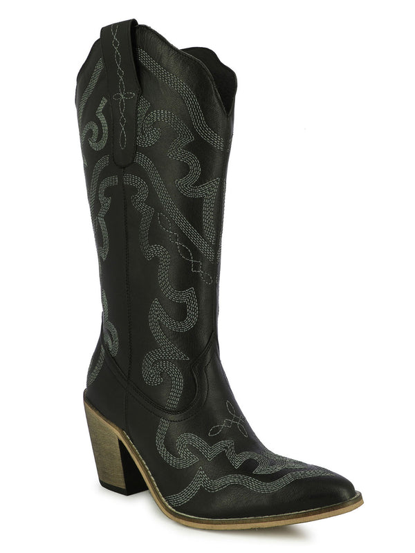 Women's satin sculpted black boots with block heels