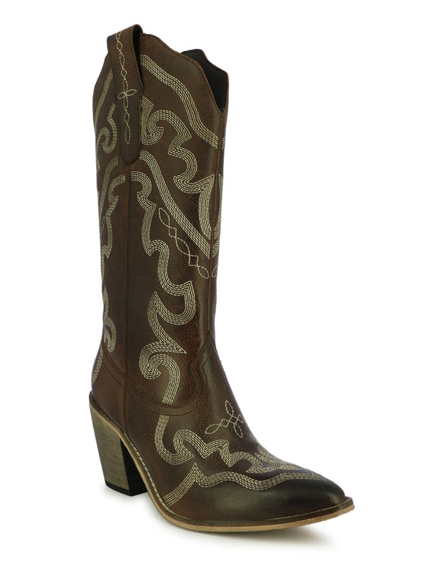 Women's satin sculpted brown boots with block heels