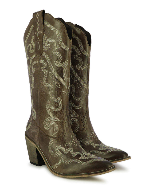 Women's satin sculpted moka boots with block heels