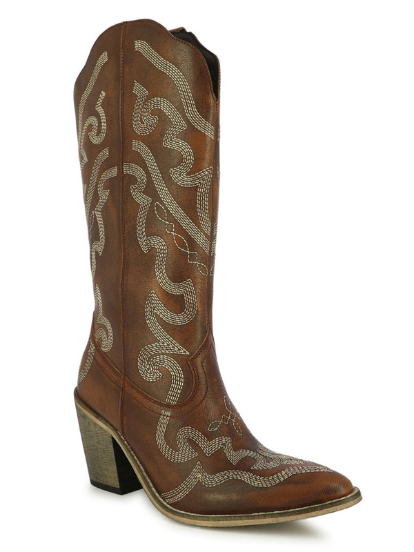 Women's satin sculpted tan boots with block heels