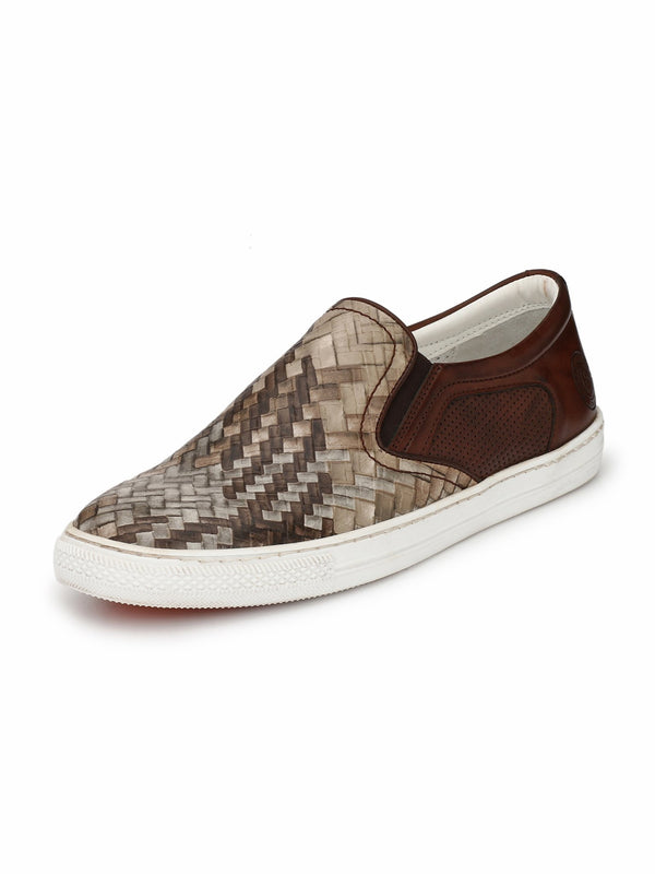 Alberto Torresi Men Maximilian Beige & Brown Sneakers