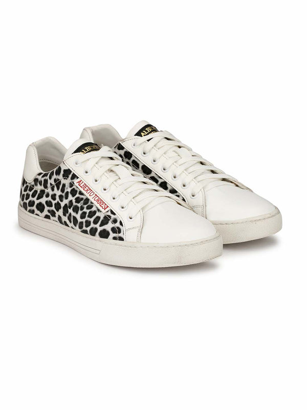 Alberto Torresi Men Jules White & Black Sneakers