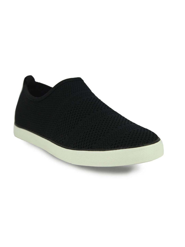 Alberto Torresi Men'S Black Self Textured Woven Slip Ons