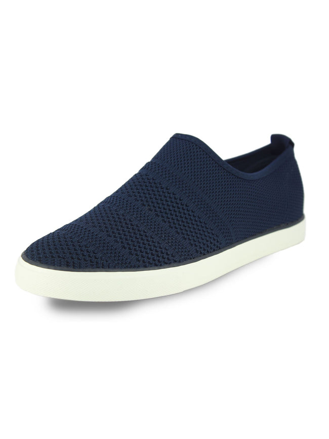 Alberto Torresi Men's Navy self textured woven slip ons