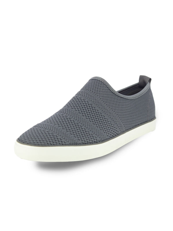 Alberto Torresi Men'S Grey Self Textured Woven Slip Ons