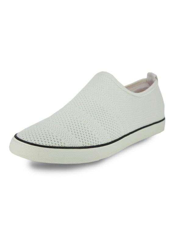 Alberto Torresi Men'S White Self Textured Woven Slip Ons