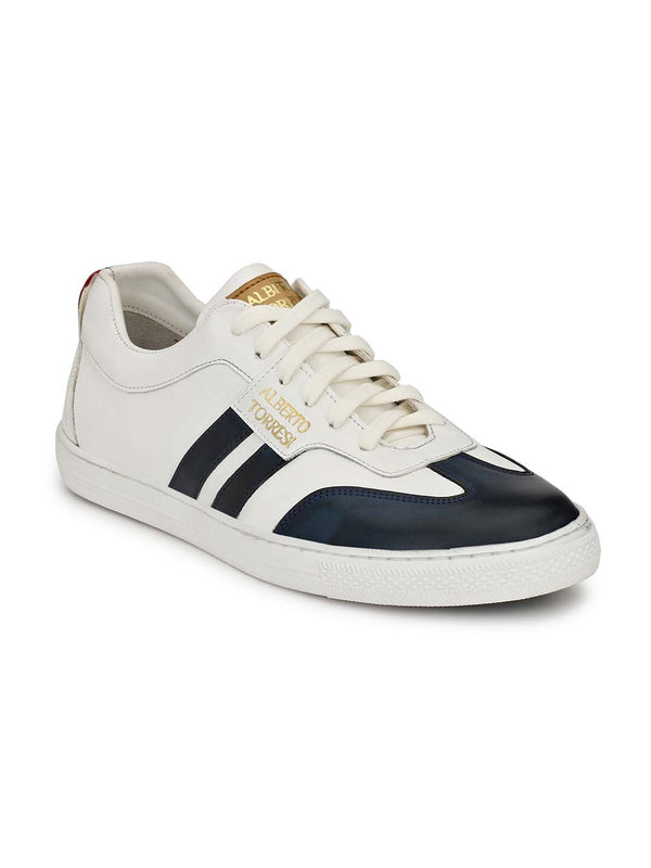 Alberto Torresi Men Tobey Blue & White Sneakers