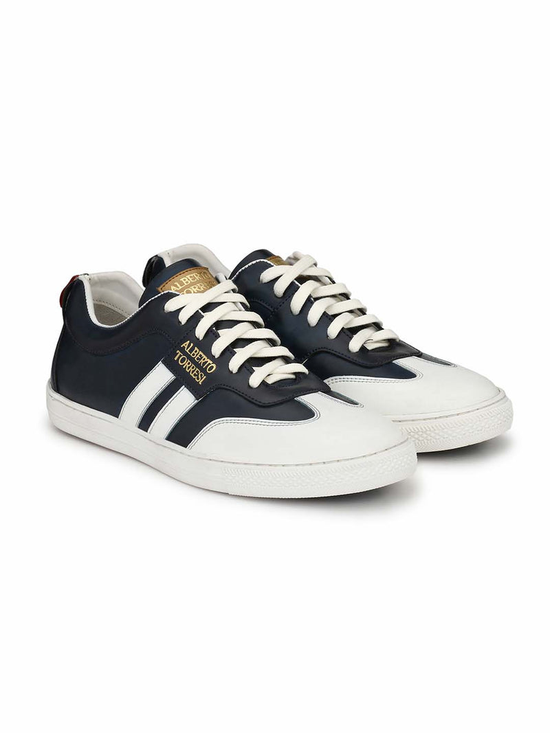 Alberto Torresi Men Tobey White & Blue Sneakers
