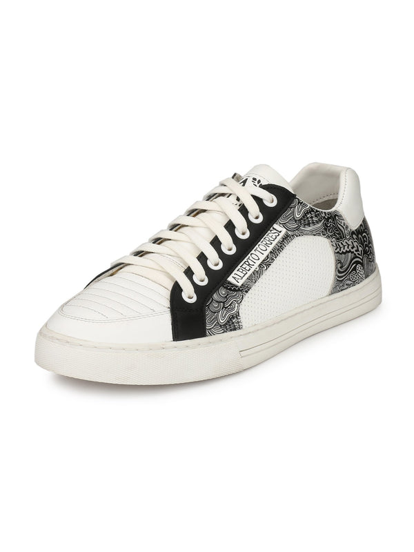 Alberto Torresi Men Van White & Black Sneakers