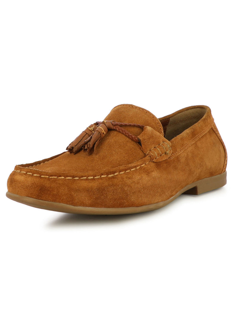 Scott Men's Tan Suede Tassel Loafers
