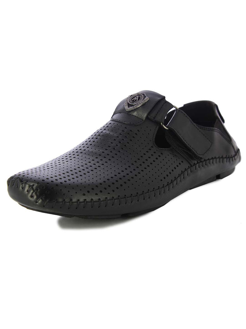 Alberto Torresi Mens Black Albert Perforated Sandals