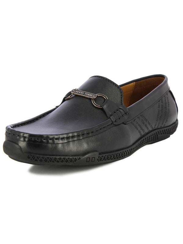 Alberto Torresi Mens Jack Black Embossed Loafers