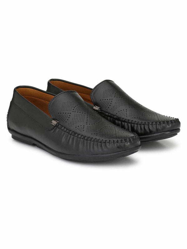 Alberto Torresi Black Loafer Shoes For Men