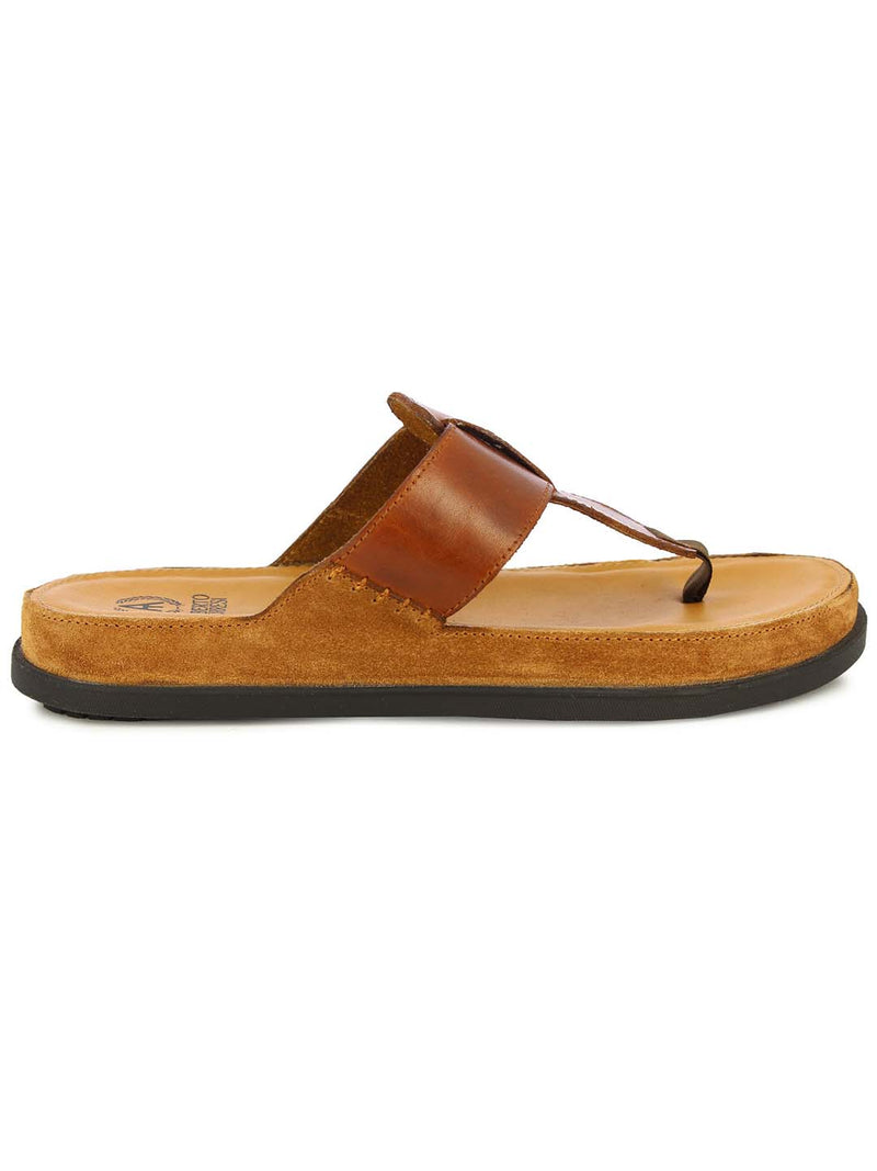 Alberto Torresi Mens Tan Harvey Wide Strap Slippers