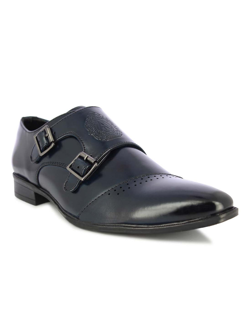 Alberto Torresi Men's Alcott blue double monk strap shoes